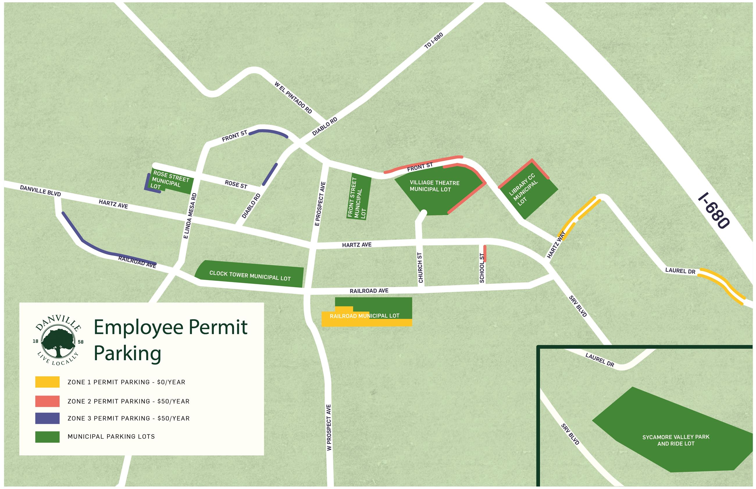 Downtown Employee Permit Parking Map 2020