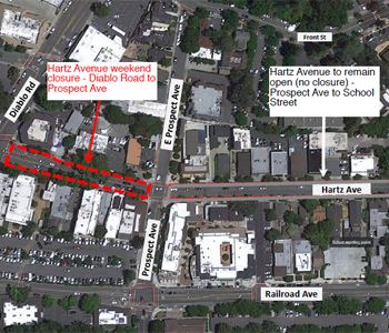 Downtown Hartz Weekend Closure Map