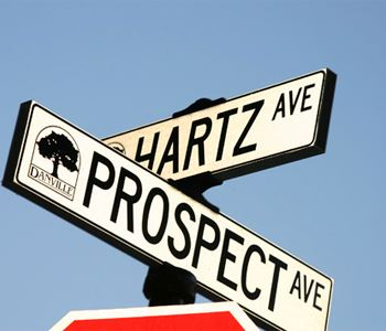 Hartz Ave. and Prospect Ave. Street signs